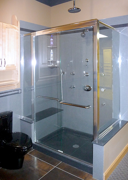 clear glass shower surround