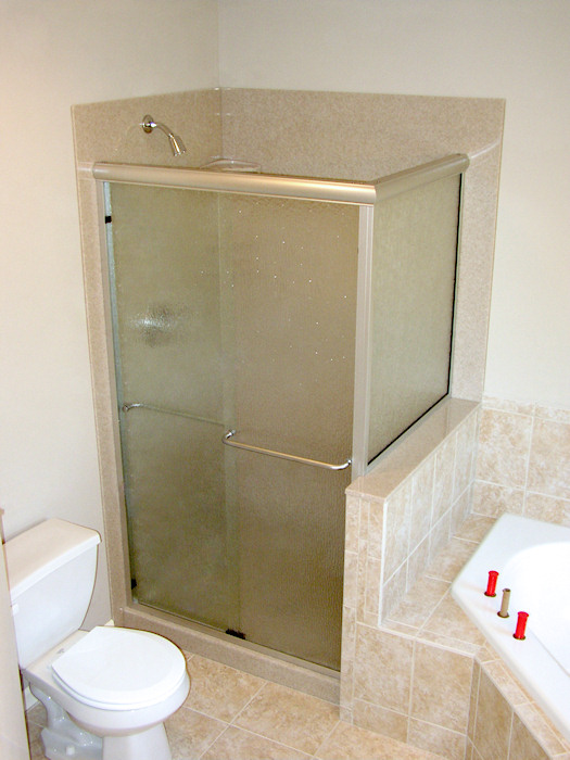 glazed glass walkin shower