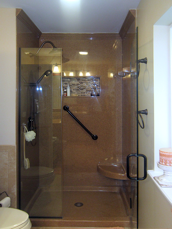 Walk In Shower With Custom Seats And Caddy
